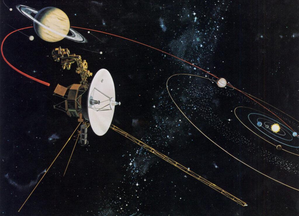 Космический роботизированный аппарат «Вояджер-2» движется мимо Юпитера